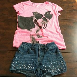 Justice Sz 10 outfit t-shirt and Jean Shorts